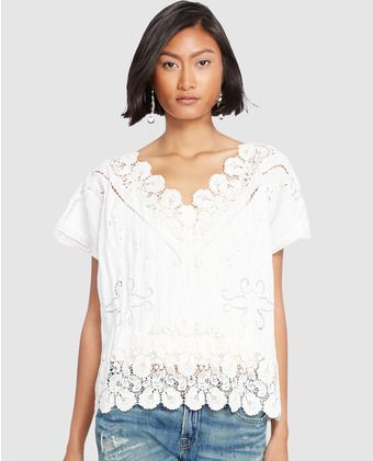 Top de mujer Polo Ralph Lauren en blanco con crochet   Add   Pinterest 039ef36219f6