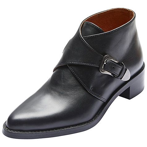Buy Selected Femme Scartlett Buckle Ankle Boots, Black Online at johnlewis.com