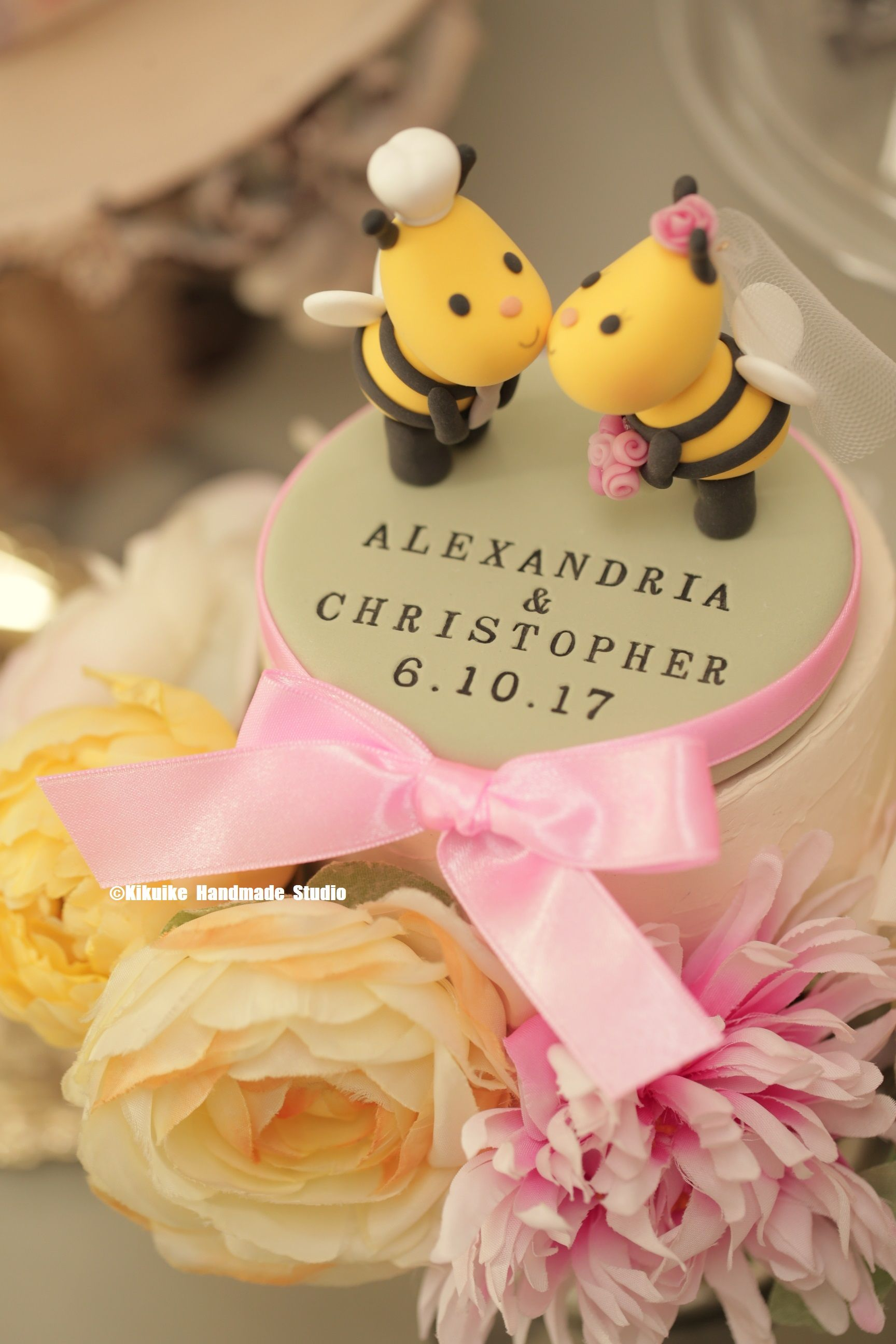 Kissing Bees wedding cake topper, lady pug wedding cake topper ...