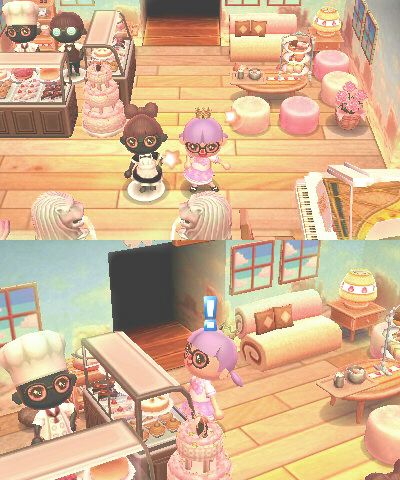 Bonbontown I M In Love With This Cafe Themed Room Source Animal Crossing Animal Crossing 3ds Animal Crossing Qr