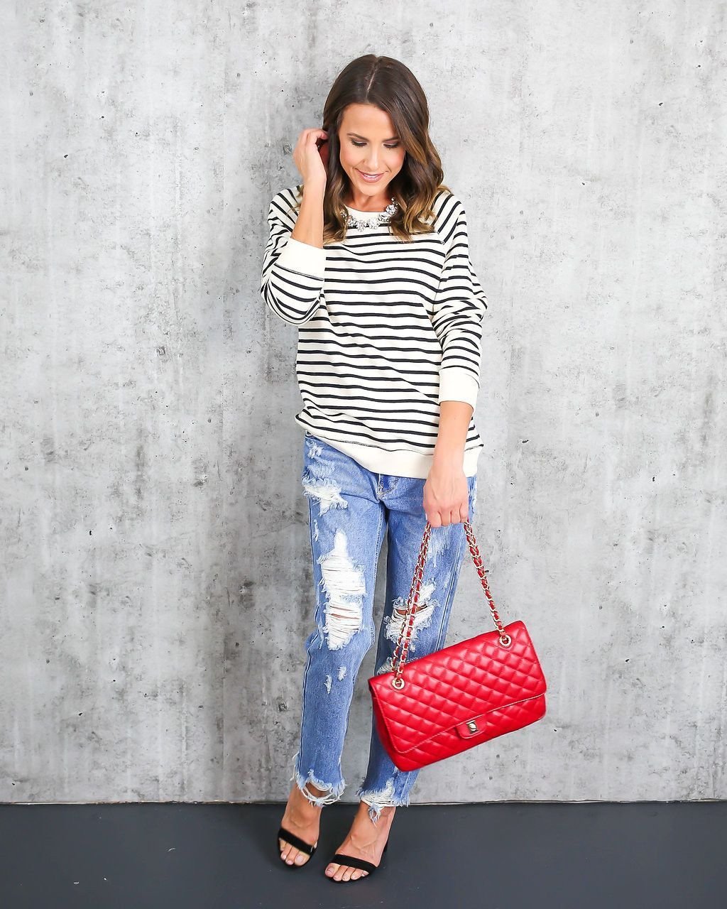 Polo Striped Cotton Sweatshirt - Oatmeal