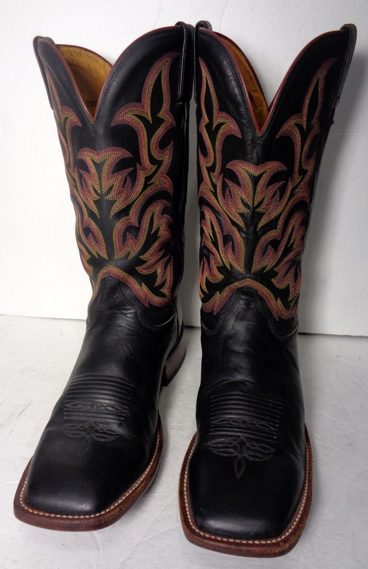JUSTIN BLACK LEATHER SQUARE TOE WESTERN COWBOY BOOTS MEN'S SIZE 11 ...