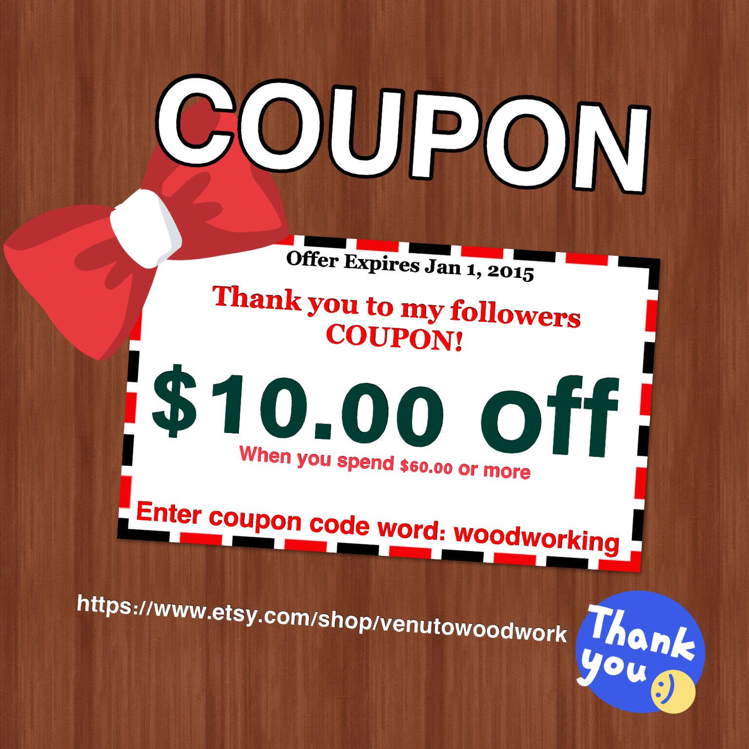 Etsy Store Coupon As A Thank You To Followers The Offer Expires Jan 1 2015 Enter Coupon Code Word Woodworking Receive 10 Words Wood Jewellery Unique Gifts