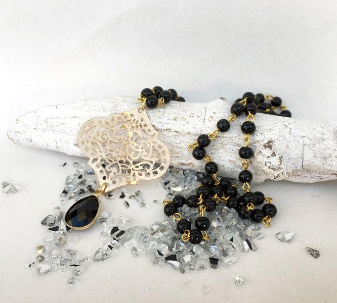 Ketten lang - lange Kette, gold mit schwarzen Perlen, Ornament - ein Designerstück von moanda bei DaWanda