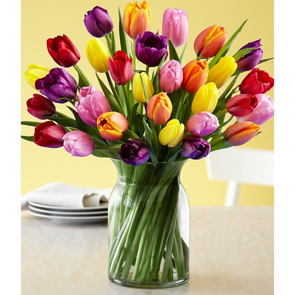 30 Multi Colored Tulips With Free Glass Vase Flowers Price 39 97 Dried Flowers Flower Centerpieces Colorful Flowers