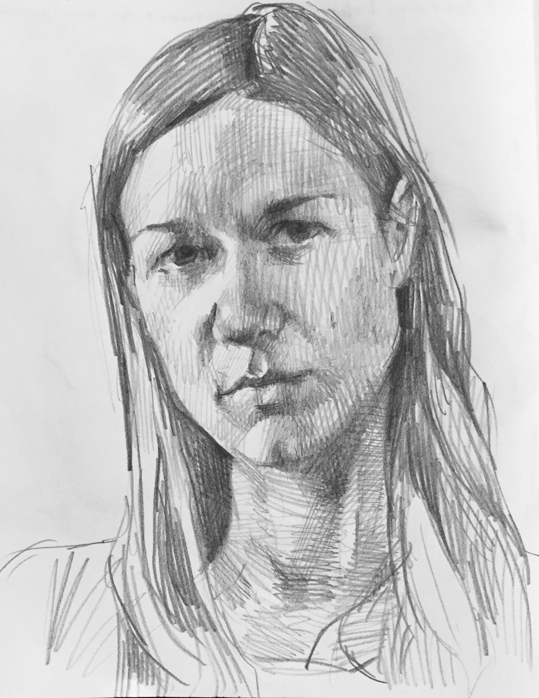 Self portrait art sketch sketchbook pencil graphite drawing by sarah sedwick 2 22 16