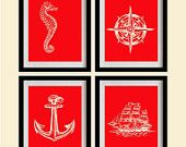 Sketched Nautical Decor Art Prints - Red, Marine- Set of 4 - 8X10 - Seahorse, Anchor, Compass, Ship - No. 015-2-S4