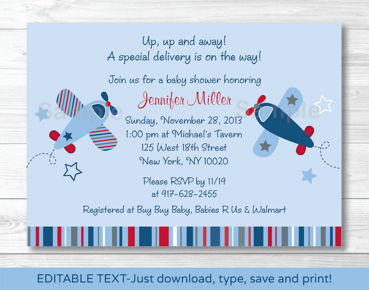Airplane Baby Shower Invitation INSTANT DOWNLOAD Editable PDF ...