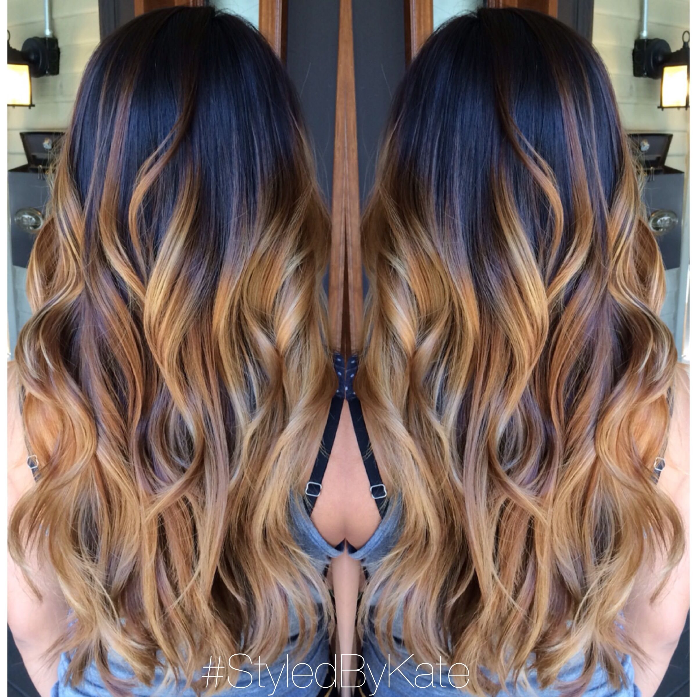 Blonde and caramel balayageombre over natural brunette hair blonde and caramel balayageombre over natural brunette hair loose curls and long layers solutioingenieria Gallery
