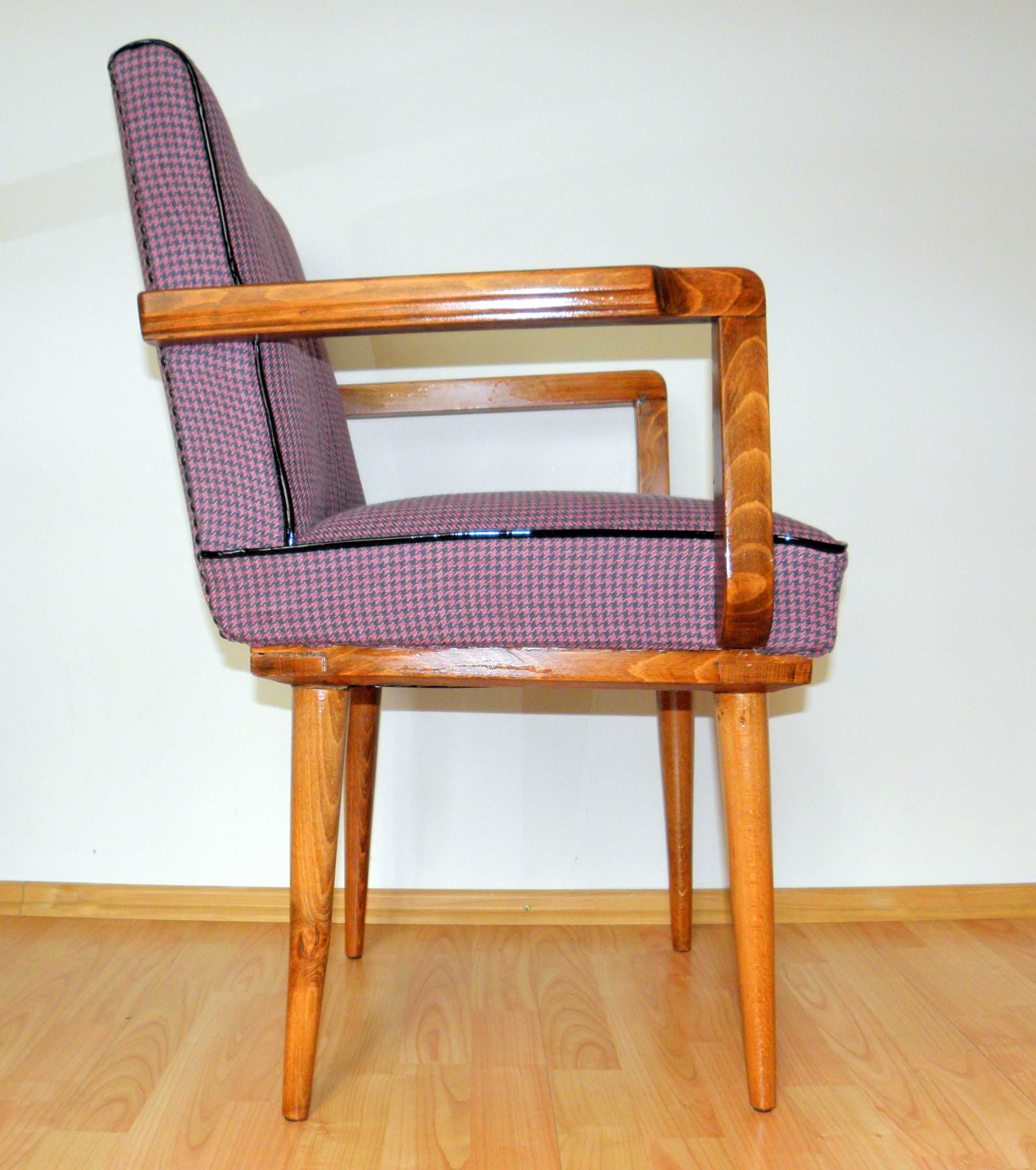 Restored walnut armchair covered pink houndstooth ...