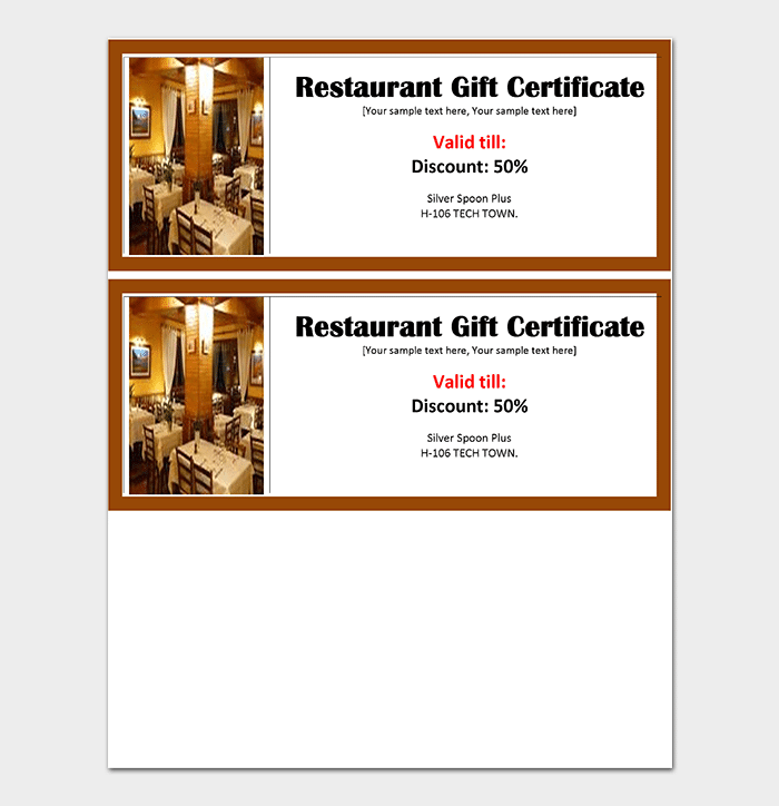 Free Printable Gift Certificate Templates For Word PDF - Restaurant gift certificate template