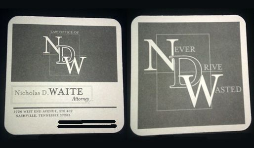DUI attorney and part-time pub waiter made his business card a - time card
