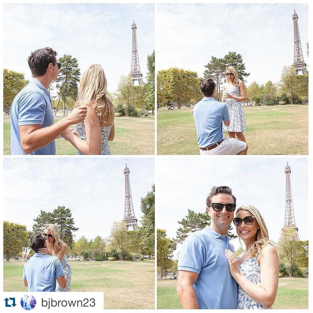 "Shapiro Diamonds on Instagram: ""She said ""Oui!""  What girl wouldn't love a proposal in Paris? We are thrilled for our adorable #shapirodiamonds couple who got engaged in the most romantic city in the world! Congratulations Ben and Steph! #Repost @bjbrown23 with @repostapp. ・・・ She said Oui! @shapirodiamonds @julienlbphotographyparis #imtakingherlastname #paris #eiffeltower #parispicnic #shapirodiamonds"""