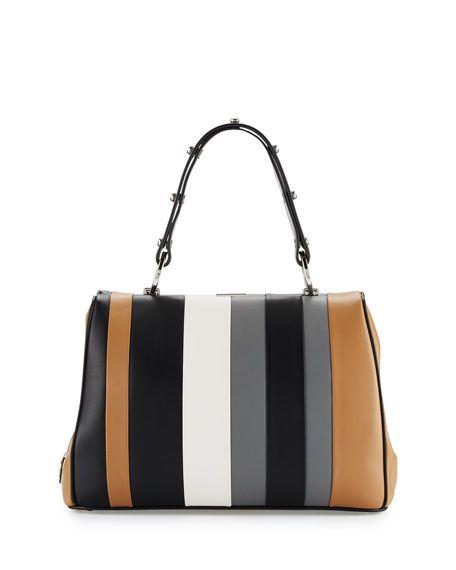 3c768078f6429b PRADA Baiadera Striped Leather Satchel Bag, Camel/Black/Gray  (Caramelo+Nero+Gris), Camel/Blk/Grey. #prada #bags #leather #hand bags # satchel #lining #