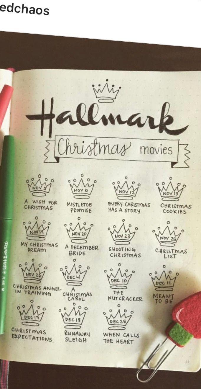 Hallmark Christmas Movie List Tracker Bullet Journal Bullet