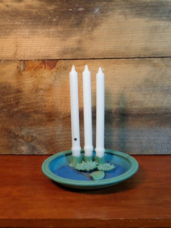 Water Lily Candle Holder Plate Unique Vintage by PopPawsPlace $21.50 & Water Lily Candle Holder Plate Unique Vintage by PopPawsPlace ...