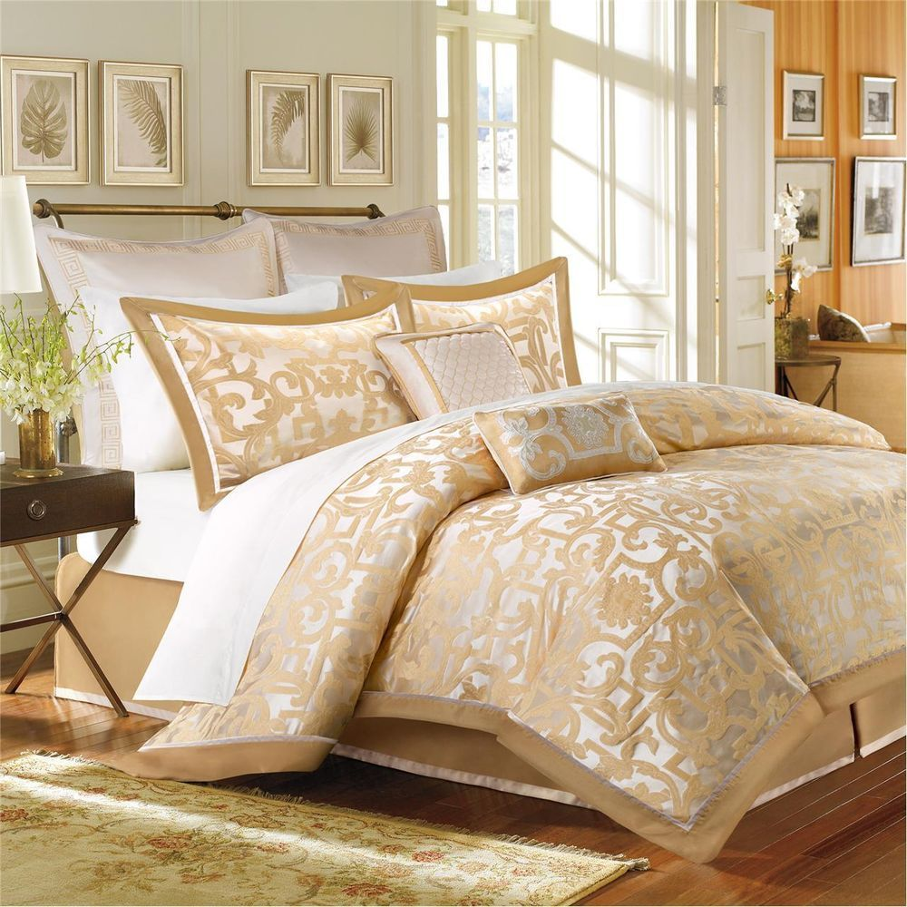 New Elegant Luxury Gold Beige Taupe White Scroll Luxury Comforter Set Ebay Comforter Sets Gold Comforter Set Gold Bed