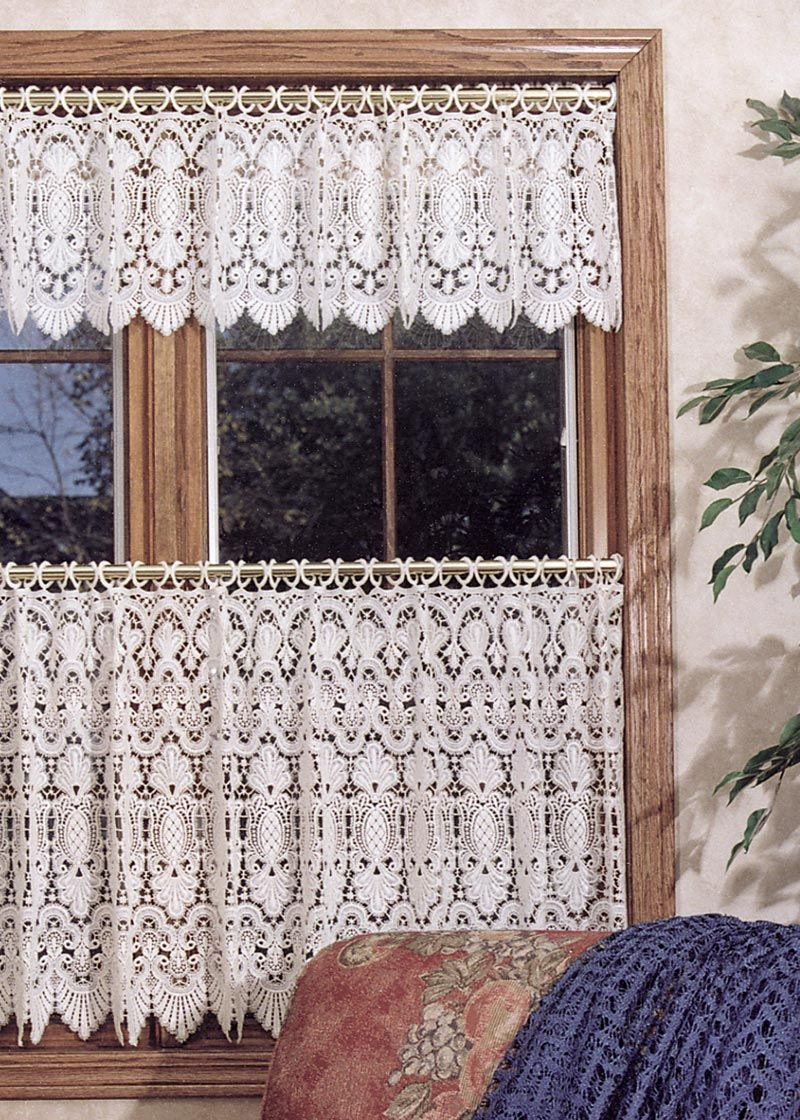 Window Elements Sheer Pineapple Embroidered 3 Piece Kitchen Curtain Tier And Valance Set Ymc001545 Pineapple Kitchen Decor Curtain Decor Shabby Chic Kitchen