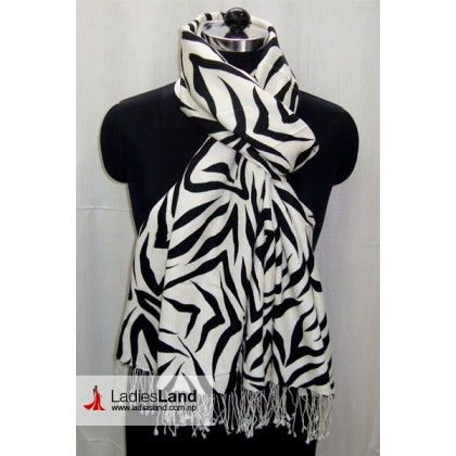 Black and white zebra print scarf bas2041
