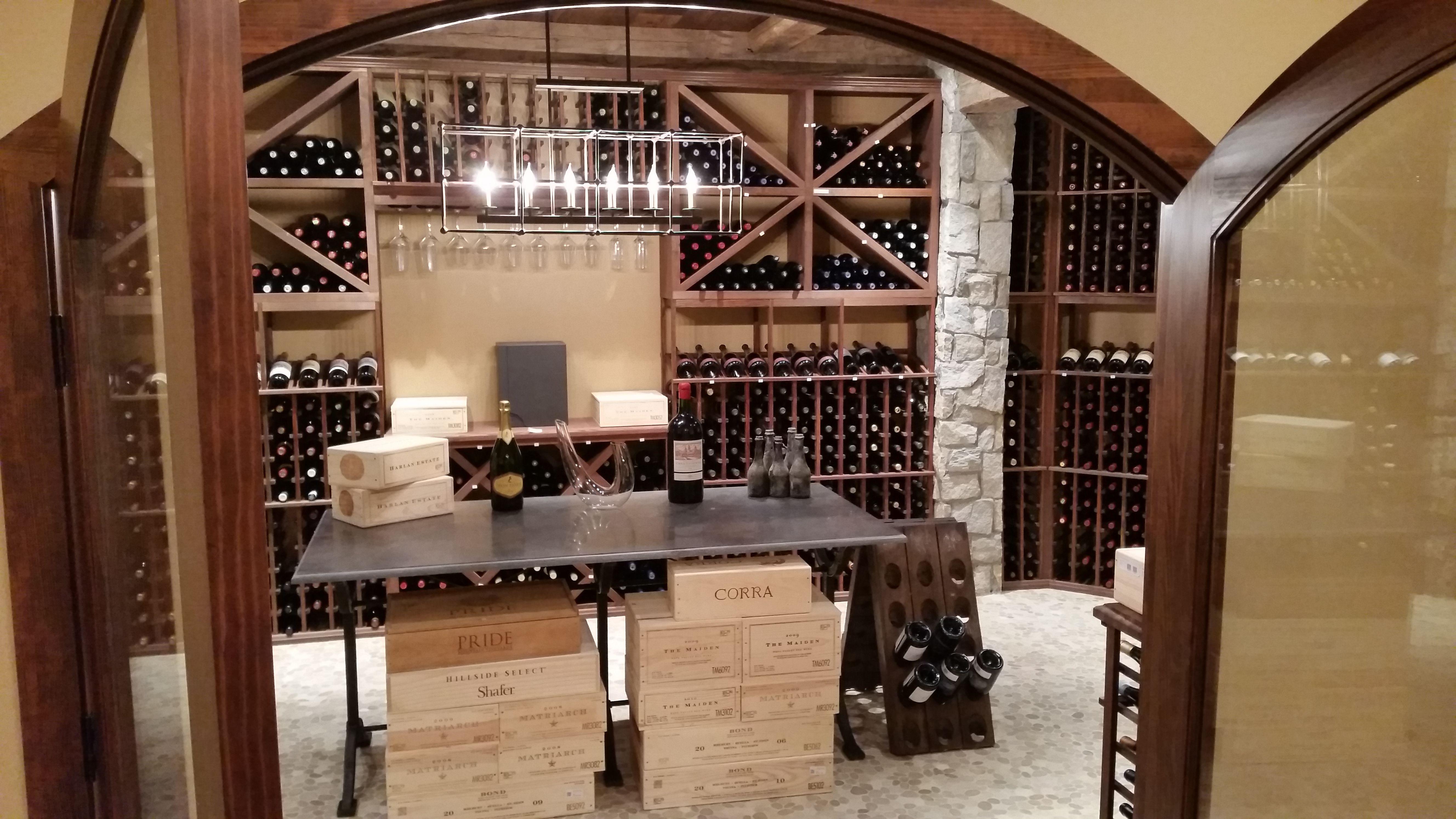 Premium Redwood Wine Racks With Dark Walnut Stain Custom Cellar