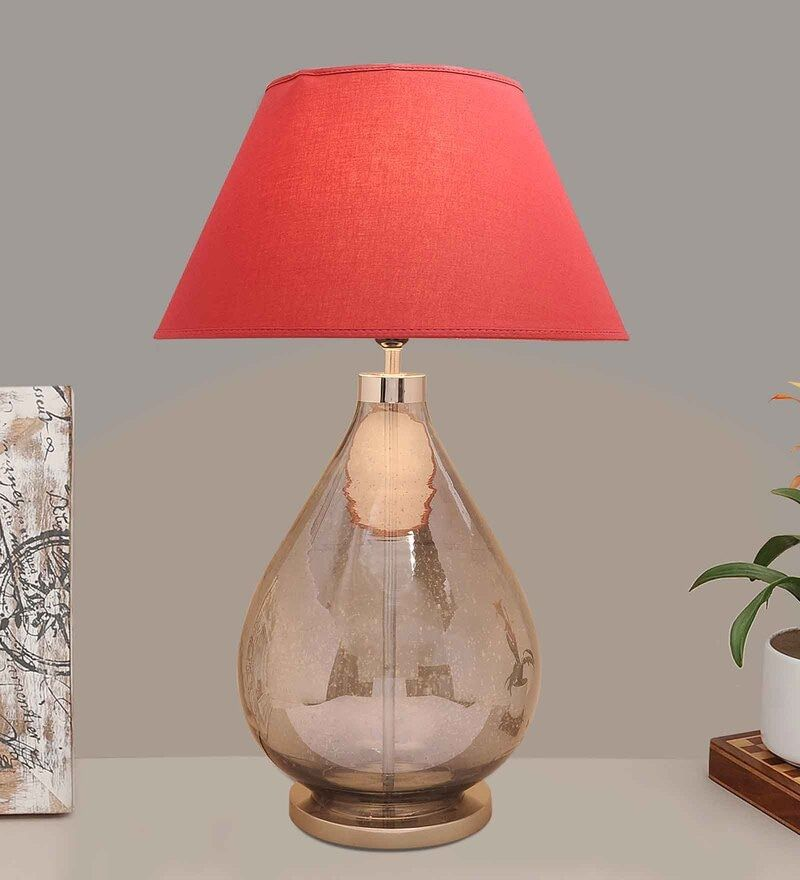 Buy Maroon Cotton Fabric Shade Fairgrove Smoke Glass Table Lamp With Grey Base By Kapoor E Illuminations Online Traditional Table Lamps Table Lamps Lamp In 2021 Glass Table