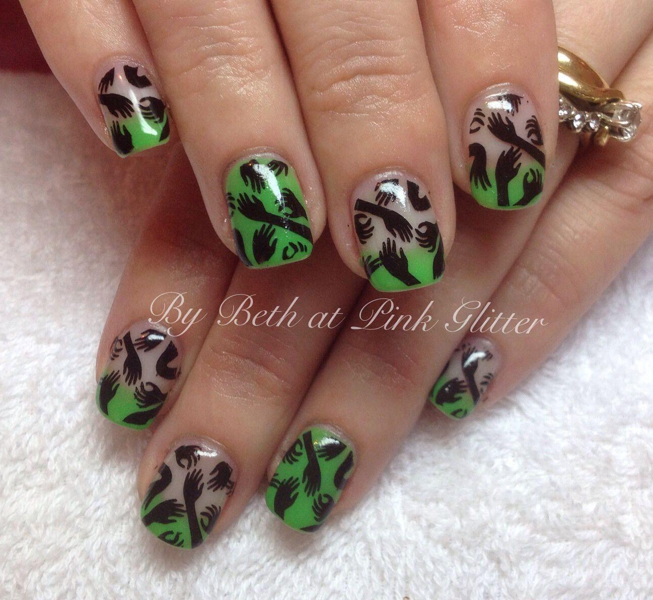 Zombie Halloween nail art | Halloween nail art, Halloween ...