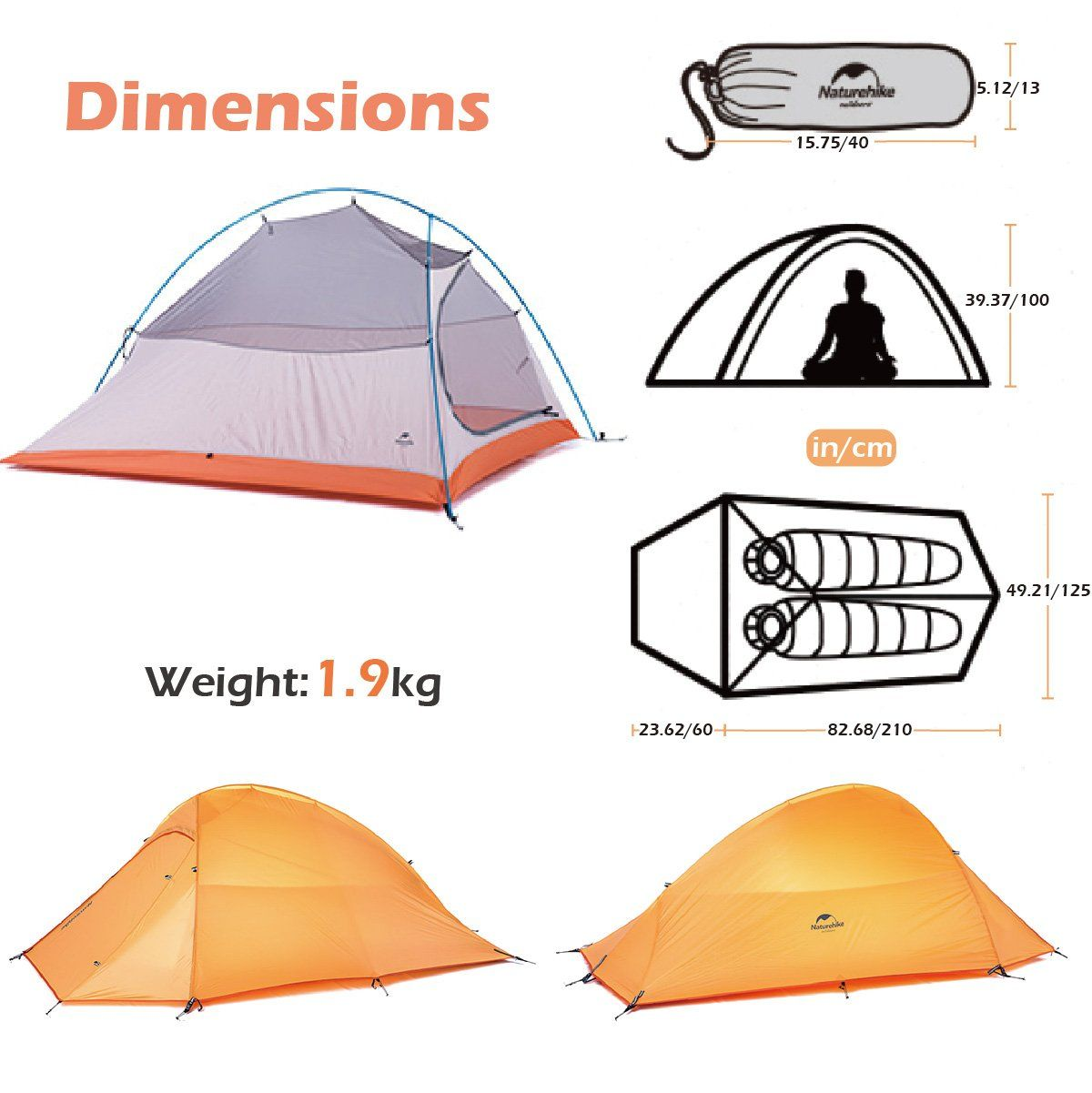 Triwonder 123 Person 4 Season Camping Tent Lightweight Waterproof Double Layer Backpacking Tent For Camping Hiking Orange 12 Person Check This Aweso Campismo