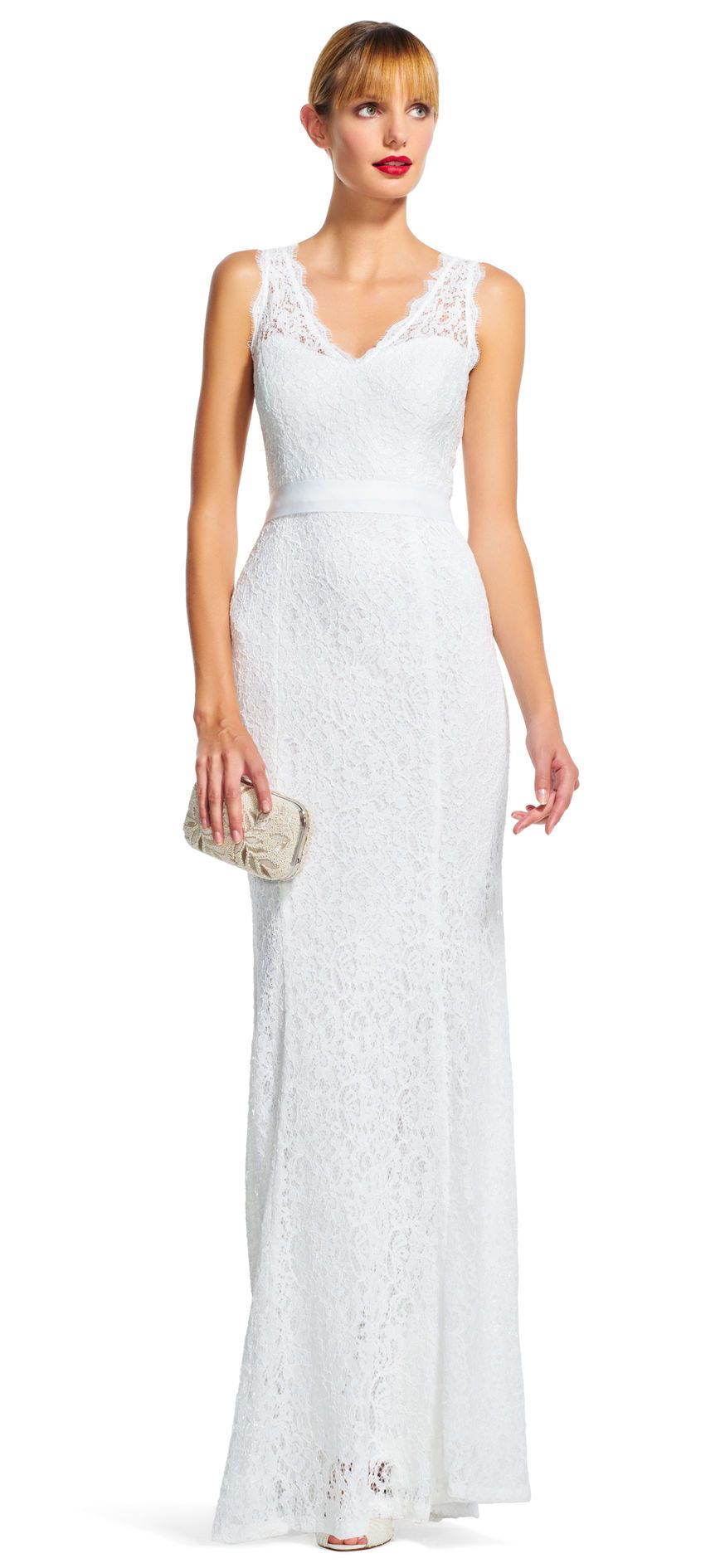 Adrianna Papell | V-Neck Sleeveless Lace Dress with Mermaid Skirt ...
