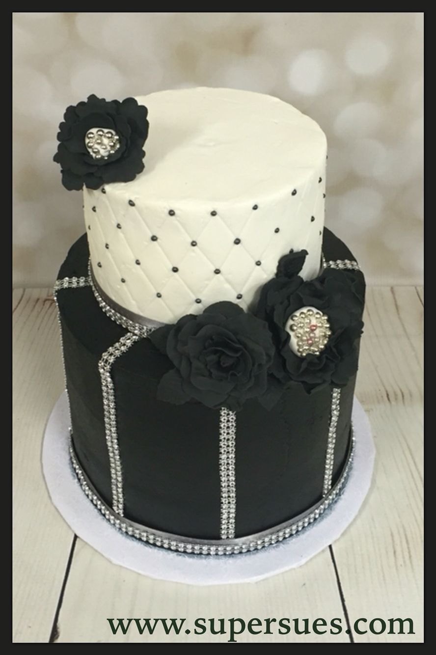 Black white and bling 40th birthday cake edible black flowers black white and bling 40th birthday cake edible black flowers dhlflorist Image collections