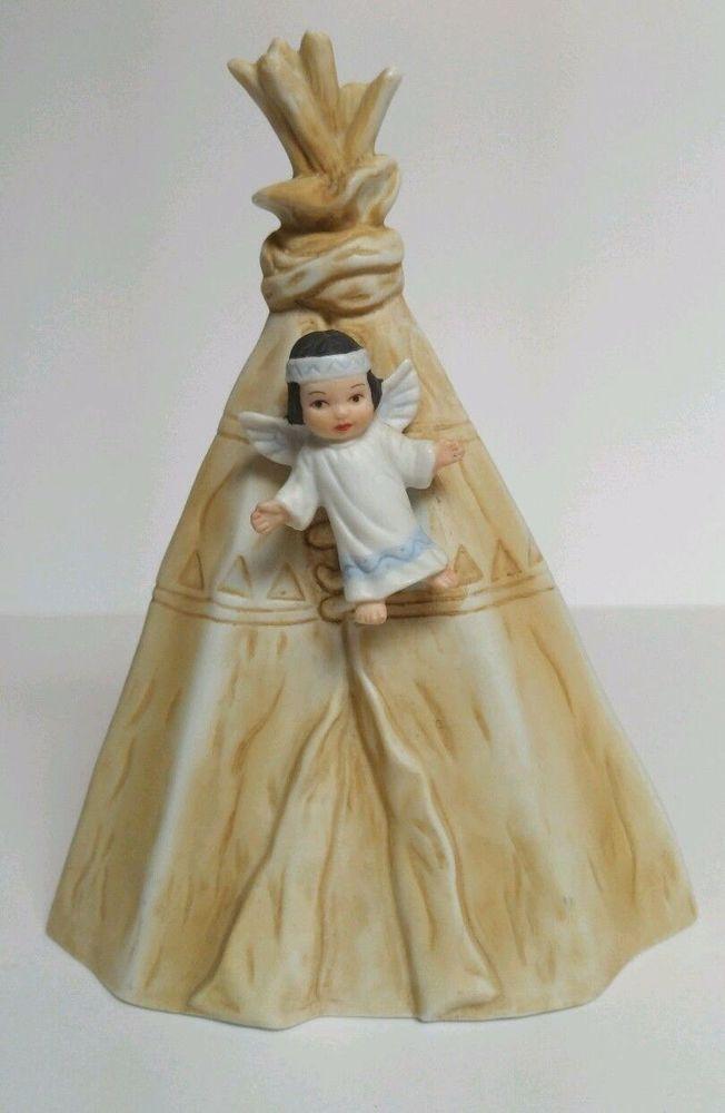 "Sagebrush Kids Tee Pee Figurine Nativity Crèche Perillo Native Vintage 1985 7"""