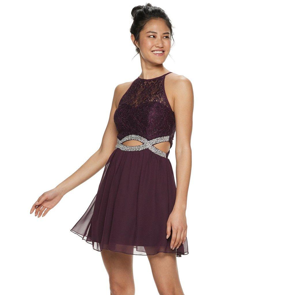 794b5b80b Juniors' Speechless Lace & Chiffon Jeweled Infinity Waist Skater Dress,  Teens, Size: 11, Med Pink