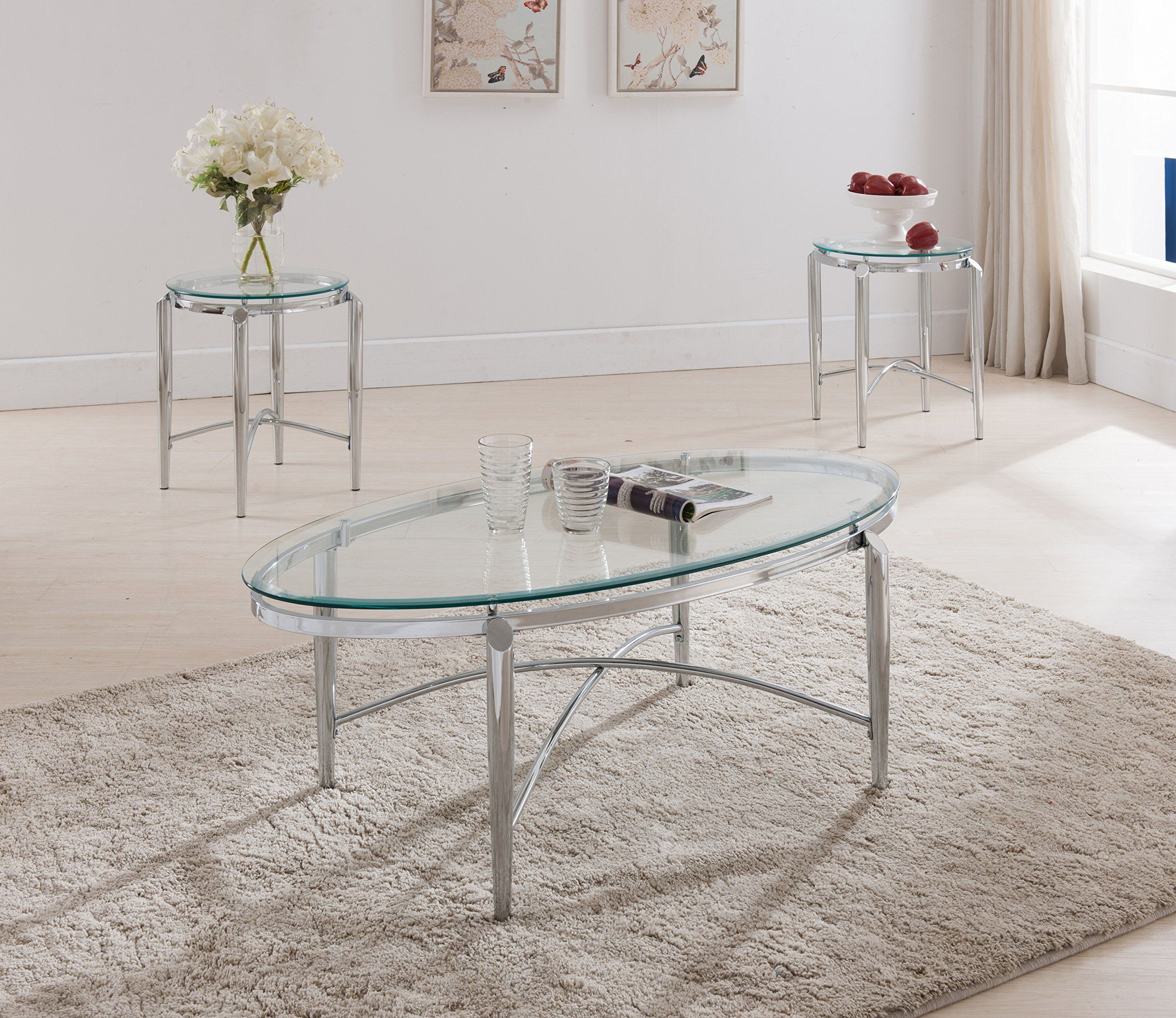 Kings Brand Furniture 3 Piece Glass Top Coffee Table and 2