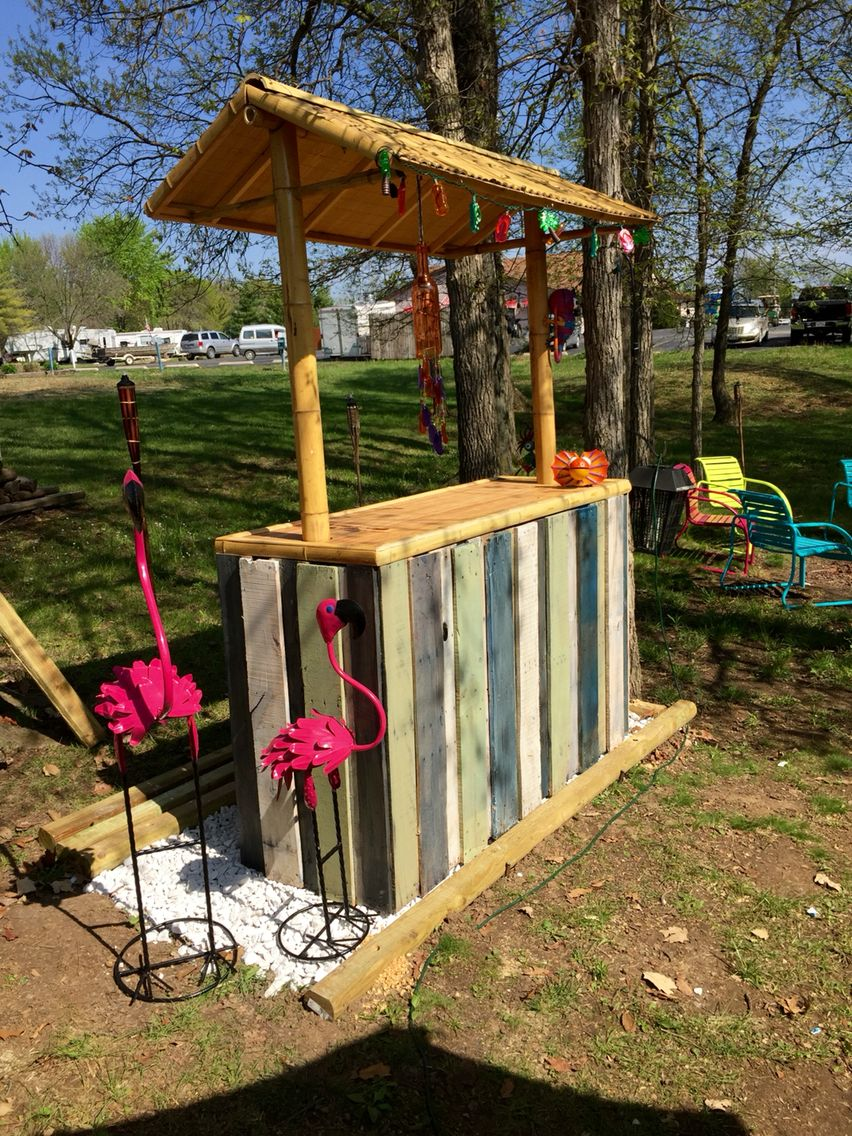 Pool Tiki Bar Ideas another tiki bar perfect for your backyard this one is made from 3 discarded Find This Pin And More On Tiki Beach 87 Epic Pallet Bar Ideas
