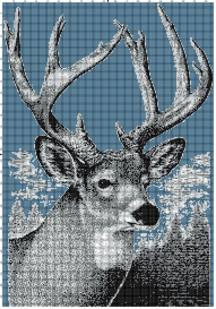 Free Crochet Deer Afghan Pattern : Deer Afghan Crochet Graph Pattern By Altas Crafts # ...