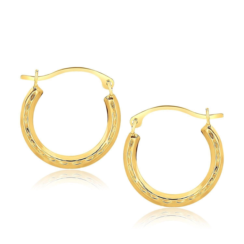 Gold hoop earrings jewellery 10K Yellow Gold Fancy Hoop Earrings wedding earrings bridesmaids jewelry by MeWeAccessoriescom on Etsy