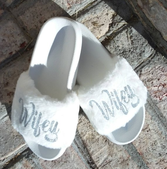 1c41a4163 Wifey Slides - White Fur - Mrs. - Bridal - Fiance - Bride to be - honeymoon  gifts - wedding - bridal
