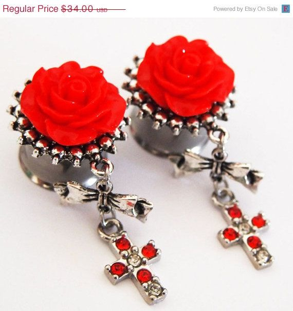 5/8 inch 16mm Red Like a Prayer Steel  Dangly Plugs by Glamsquared, $27.96