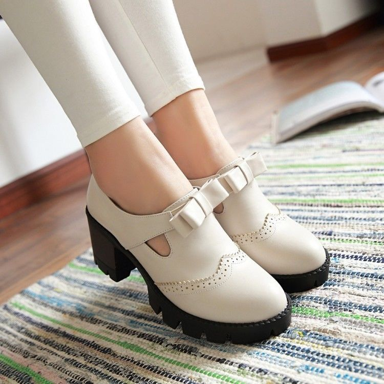 Womens Low Block Heels Bowknot Sweet Cute Students Wing Tip Casual Slip On Shoes
