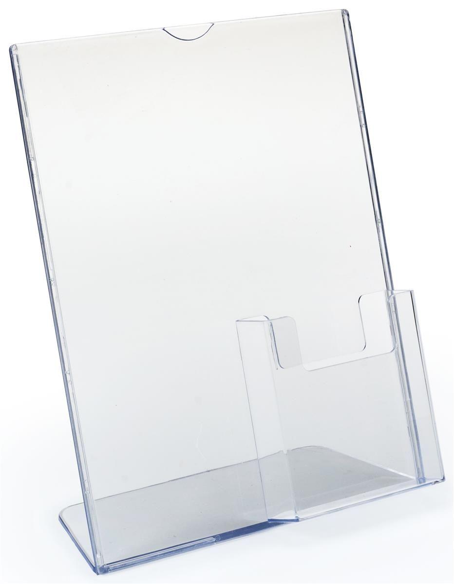 85 X 11 Acrylic Sign Holder With Pocket For 4 X 9 Brochures Slant