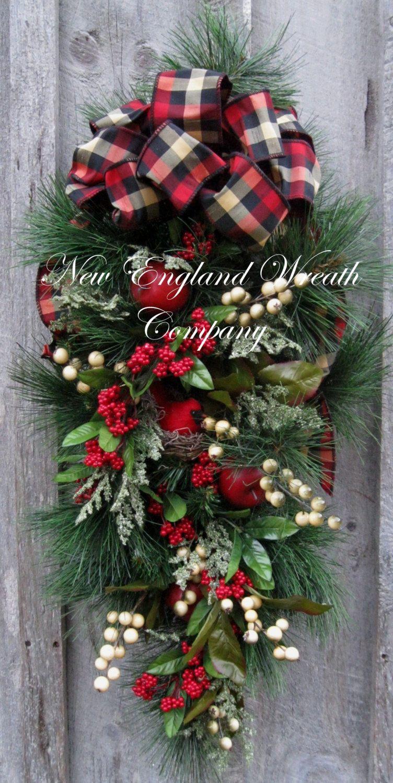 Christmas Wreath, Holiday Wreath, Christmas Swag, Cardinal ...