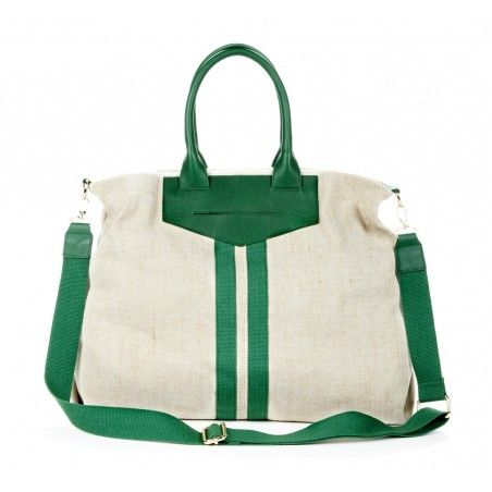 linen and leather tote.