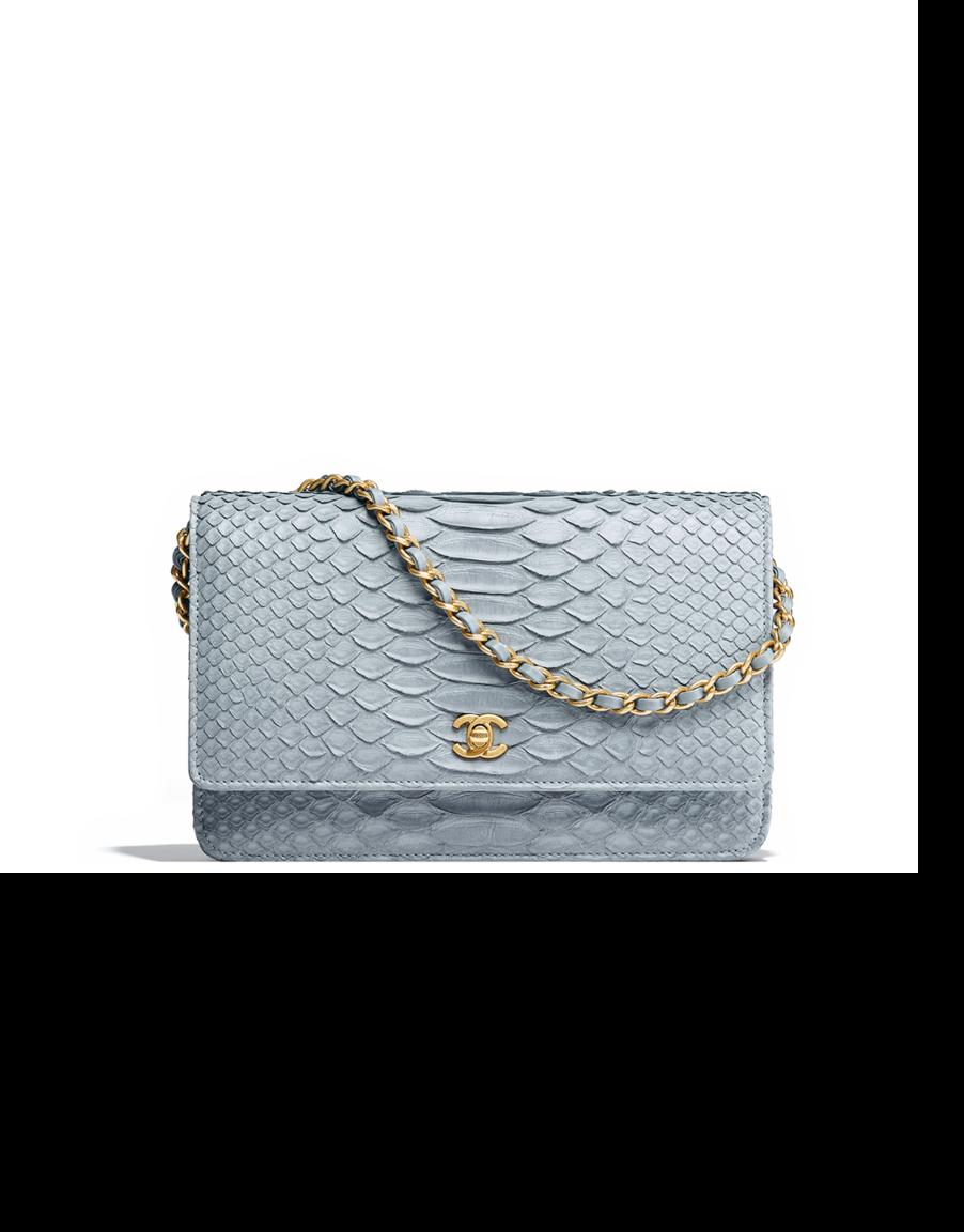 Pochette avec chaîne Classique, python   métal doré-gris - CHANEL RTW SS  2018 2126422539a