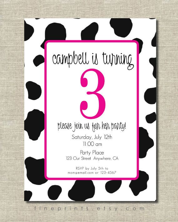 Fun pink cow print birthday party invitation – Cow Party Invitations
