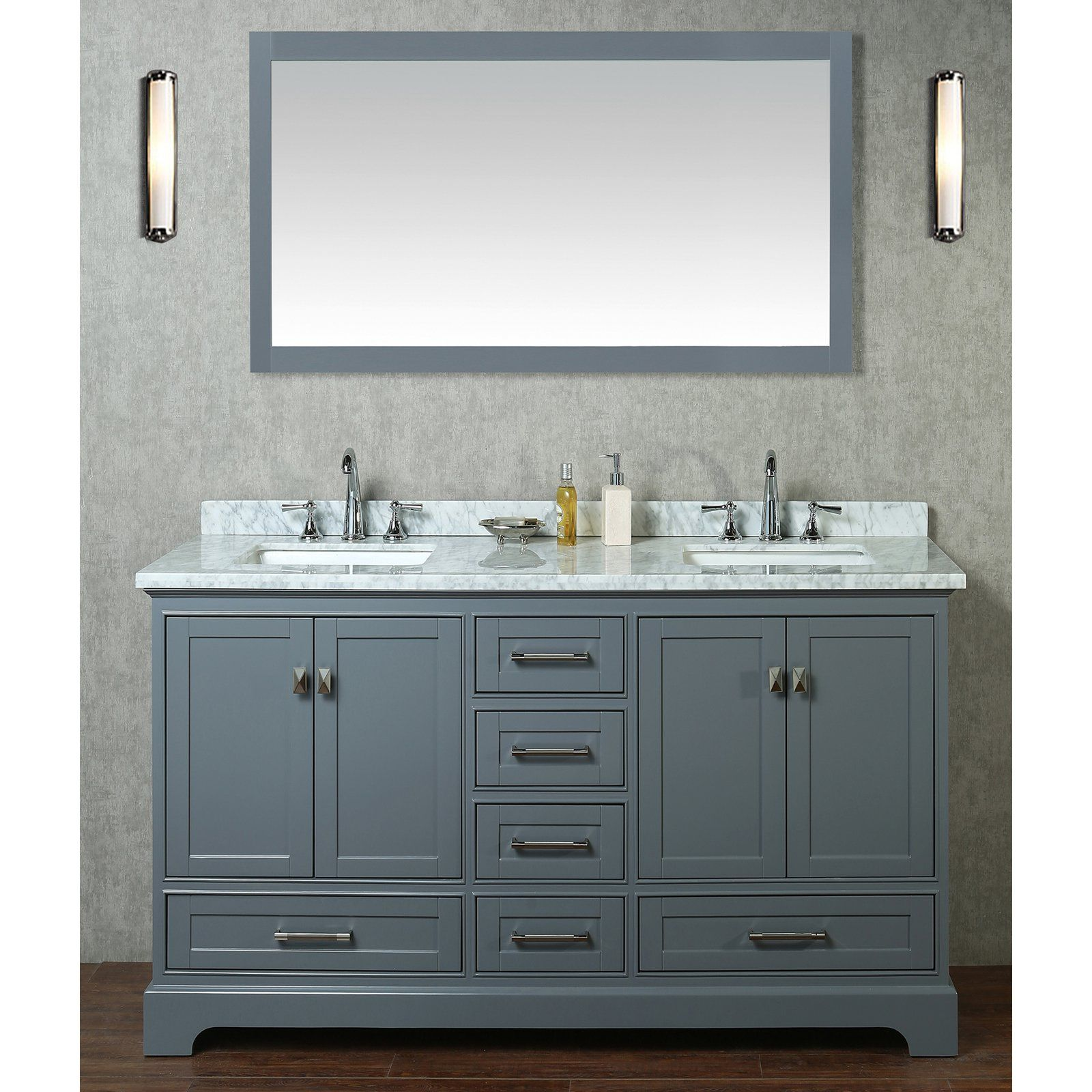 Stufurhome Newport 60 In Double Sink Bathroom Vanity With Mirror