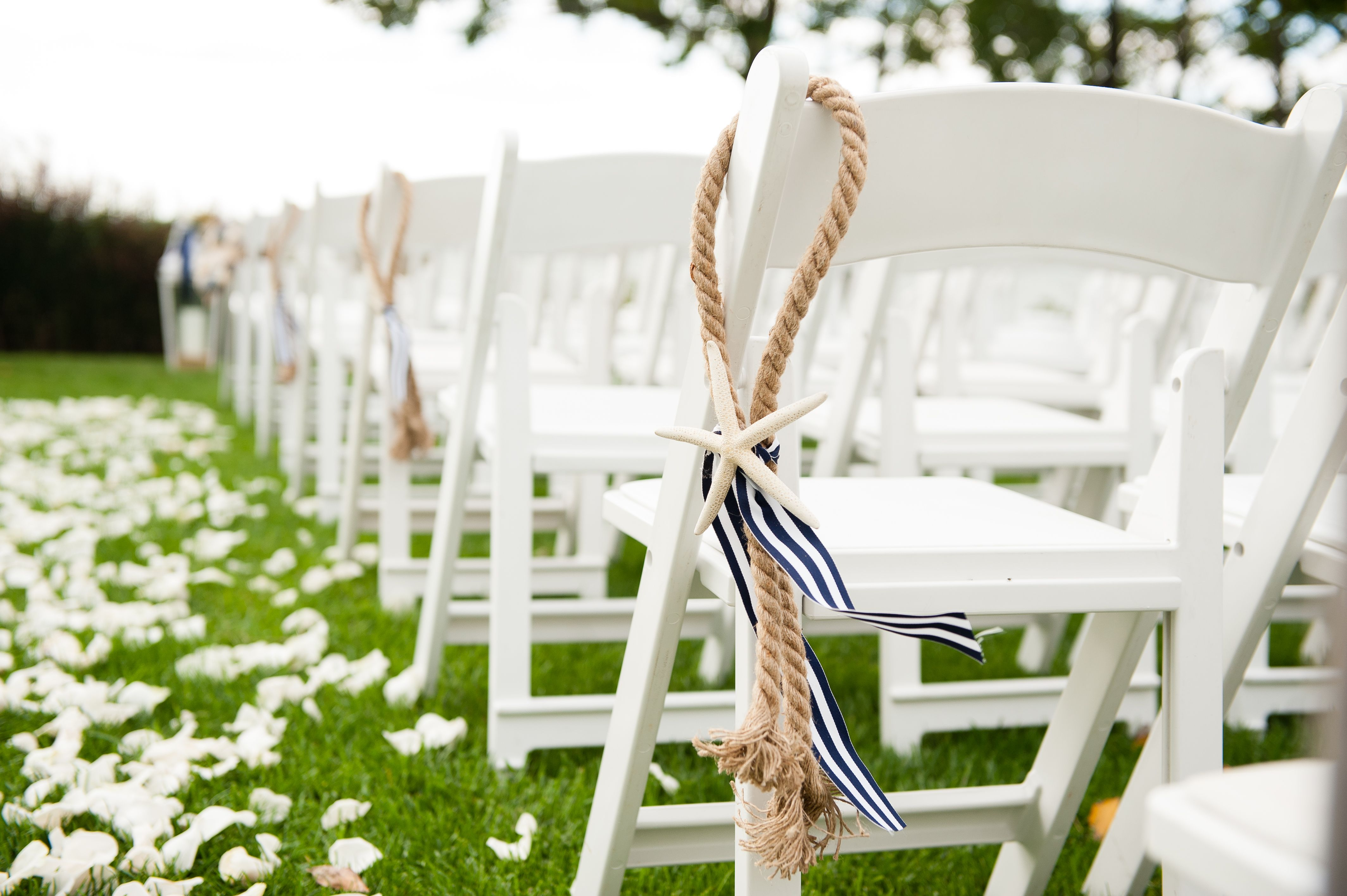 Nautical Wedding, Chair Decor, Wedding Isle, Rope, Starfish, Navy ...