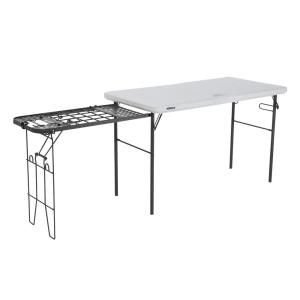 Lifetime 48 In White Granite Plastic Folding Banquet Table With Metal Grill Rack 280312 The Home Depot In 2020 Metal Grill Tailgate Table Camping Table