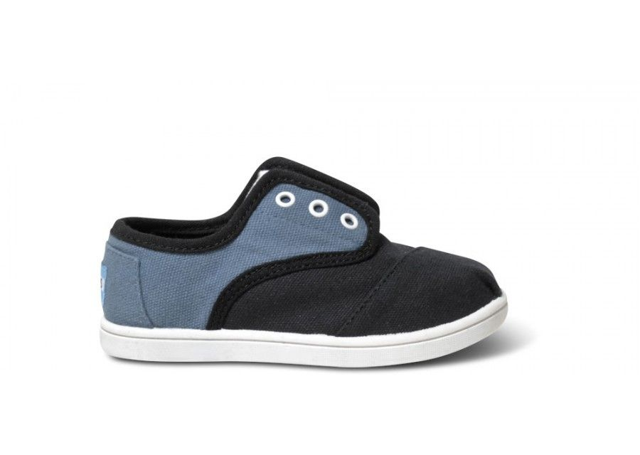 Blue and Black Block Tiny TOMS Cordones side