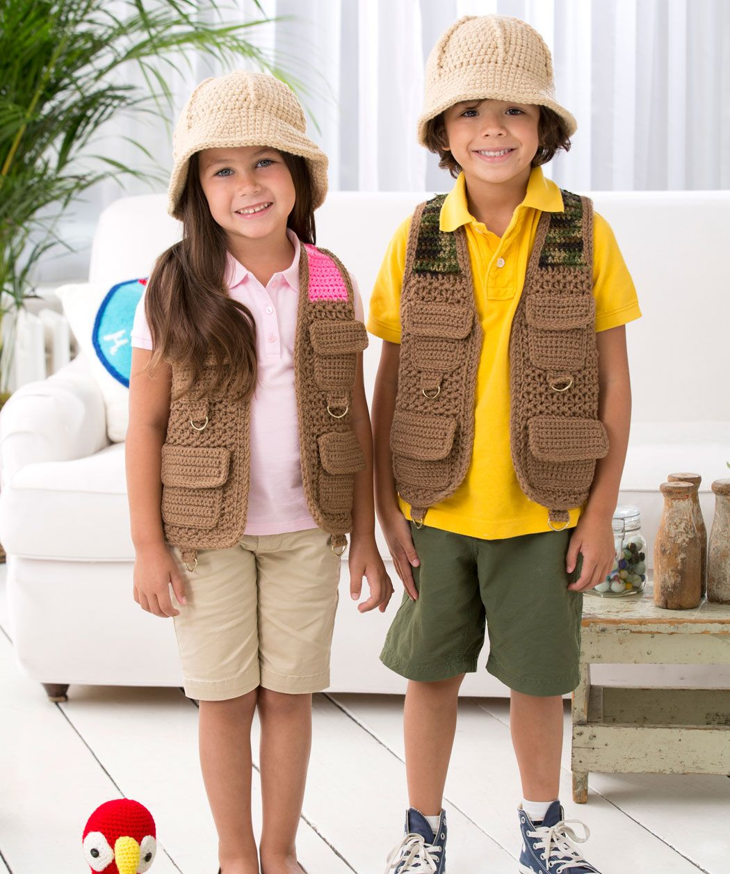 Safari vest and hat to crochet - free pattern from Red Heart ... 9a4b4d05142
