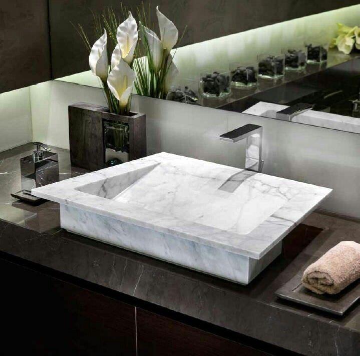 Cubierta tipo lavadero mesas minimalistas en piedra - Marmoles para banos ...