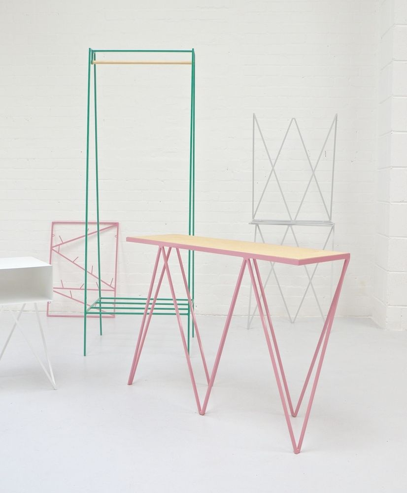 steel powder coated giraffe console table in pink plywood top by u0026new stand 50 pastel - Pastel Furniture